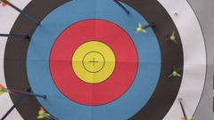 An arrow hitting the center of a target, super slow motion. Stock Footage