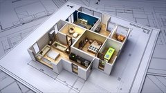 Architectural Drawing changed 3D house interior. Stock Footage