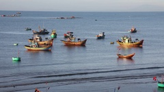 Vietnamese fishing boats Stock Footage