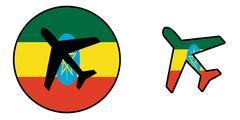 Nation flag - Airplane isolated - Ethiopia Stock Illustration