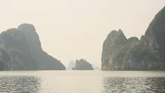 Mountain scenery at Halong Bay, Vietnam Stock Footage