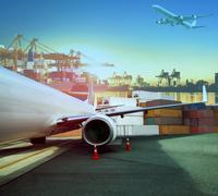 Cargo plane and ship loading container for logistic and transport business Stock Photos