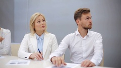 Business team at presentation in office Stock Footage