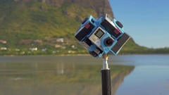 Six GoPro cameras shooting 360 degrees nature scene Stock Footage