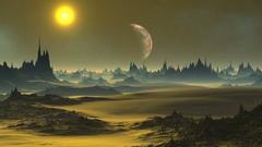 Golden Sunset On An Alien Planet Stock Footage