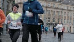 LVOV, UKRAINE - 6 November 2016 : Lvov Grand Prix Lviv Half Marathon Stock Footage