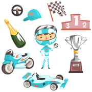 Boy Speed Racer, Kids Future Dream Professional Occupation Illustration With Stock Illustration