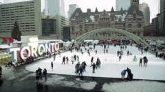 High Angle Skating at Nathan Philips Square Stock Footage