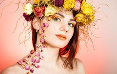 Woman with wreath on her head Stock Photos