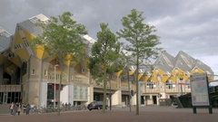 View of Cube Houses, Rotterdam, Netherlands Stock Footage