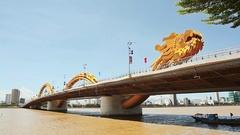 Dragon Bridge in Danang city. Vietnam Stock Footage