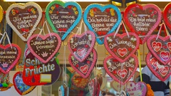 Heart of gingerbread at the fair, Valentine's day Stock Footage