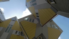 Cube Houses in Rotterdam, view from beneath Stock Footage