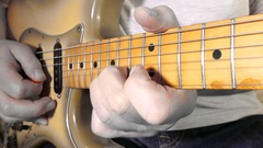 Man playing a vintage electric guitar. Stock Footage