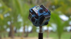 360 degrees video with six GoPro cameras Stock Footage