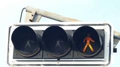 Pedestrian traffic light in front of school Stock Footage