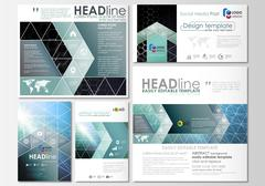 Social media posts set. Business templates. Cover design template, easy editable Stock Illustration