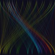Colorful dark background with abstract waves, lines. Bright color chaotic Stock Illustration