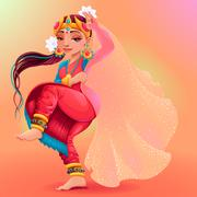 Indian dancer representing the veil of Maya Stock Illustration