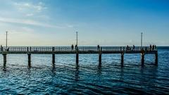 4K Time lapse of people fishing at bridge, Tilt up shot Stock Footage
