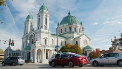 Lackawanna, New York - Oct, 2016: The Our Lady of Victory Basilica. It is a Stock Footage