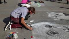 Street artist, Trafalgar Square, London, UK 4 Stock Footage