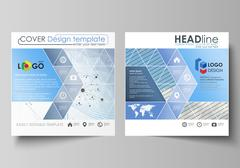 Business templates for square design brochure, flyer, annual report. Leaflet Stock Illustration
