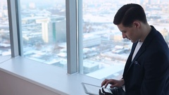 During a Break with tablet in the hands Stock Footage