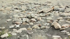 Rocks and concrete at Folkestone Warren beach, Kent, England Stock Footage
