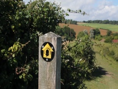 South Downs Way signpost, Castle Hill, Folkestone, Kent, England Stock Footage