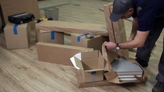 Preparation for Assembly of Office Furniture Stock Footage