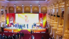 Panorama of Union House column hall with members of political party Stock Footage