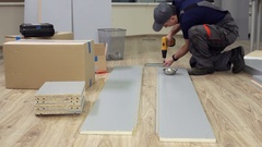 The Assembly of Office Furniture in the New Office Stock Footage