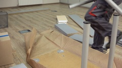 Assembling Table for Sales Manager Stock Footage