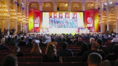 Meeting of Fair Russia political party in Union House column hall Stock Footage