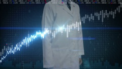 Researcher engineer touched Stock Market charts, graphs. increase line. Stock Footage