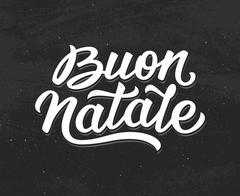 Buon Natale lettering. Merry Christmas in italian Piirros