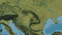 Zoom into Carpathian mountain range - masks. Topographic map Stock Footage