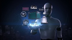 Robot open palm, Electronic, lithium ion battery echo car. engine, navigation. Stock Footage