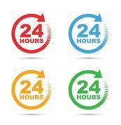 Twenty four hour icon Stock Illustration