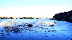 Foam from the waves in the coastal zone Stock Footage