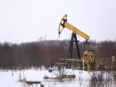 Oil Production In The Winter. Oil Pumps Not Working Stock Footage