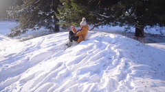 Teen girl sledding from a hill in the winter snow park, a dog playing with a Arkistovideo