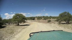 Safari car driving through Serengeti National Park, Tanzania Stock Footage