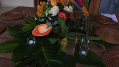 Details of the wedding party, the flowers on the table Stock Footage