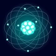 Illuminated model of an oxygen atom on a dark background. Vector Stock Illustration