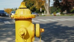 Fire hydrant in a small US town. In the background, street, drive blurred car Stock Footage