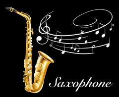 Poster design with saxophone and music notes Piirros