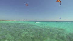 A man kite surfing on the Red Sea in Egypt, slow motion. Stock Footage