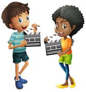 Boy and girl holding clapboard Stock Illustration